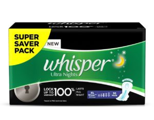 Whisper Ultra Overnight Sanitary Pads XL Wings